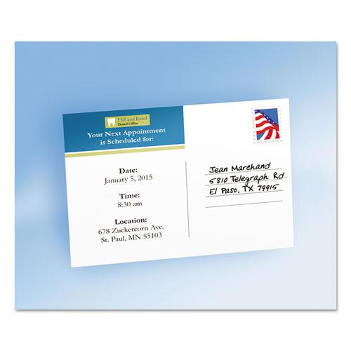 Postcards, Color Laser Printing, 4 x 6, Uncoated White, 2 Cards/Sheet, 80/Box. Picture 2