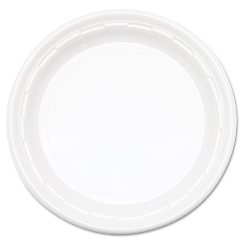 "Famous Service Impact Plastic Dinnerware, Plate, 10 1/4"" dia, White, 500/Carton. The main picture."