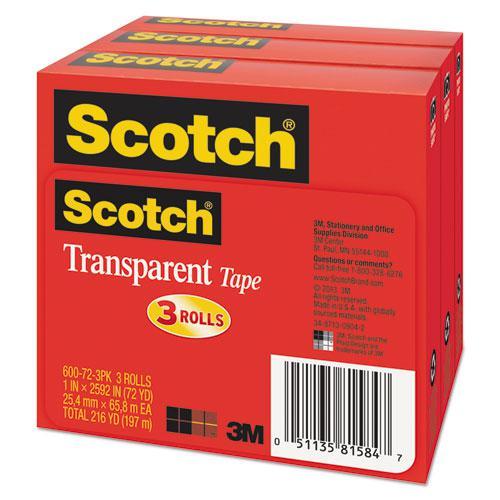 "Transparent Tape, 3"" Core, 1"" x 72 yds, Transparent, 3/Pack. Picture 2"