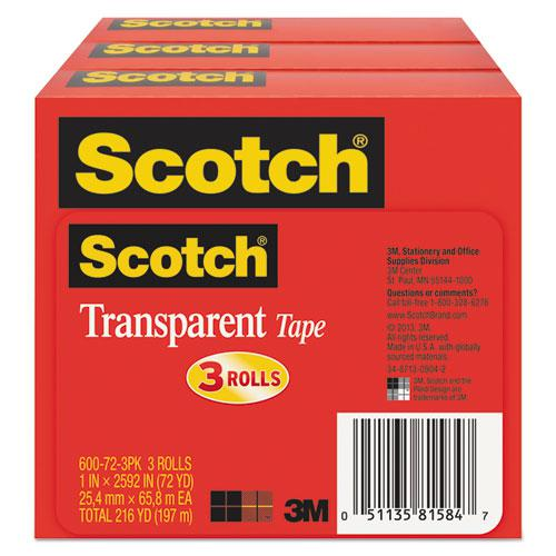 "Transparent Tape, 3"" Core, 1"" x 72 yds, Transparent, 3/Pack. Picture 4"