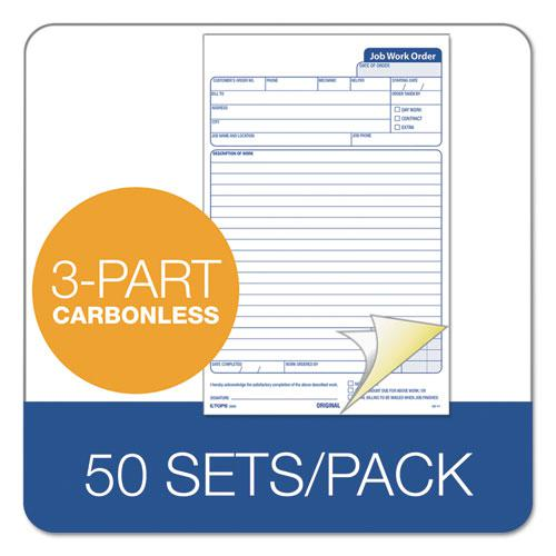 """Snap-Off Job Work Order Form, 5 2/3"""" x 8 5/8"""", Three-Part Carbonless, 50 Forms. Picture 3"""