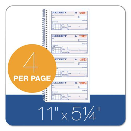 Money/Rent Receipt Spiral Book, 2-3/4 x 4 3/4, 2-Part Carbonless, 200 Sets/Book. Picture 2