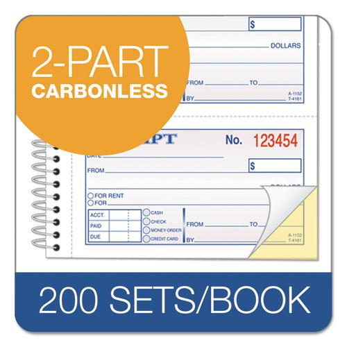 Money/Rent Receipt Spiral Book, 2-3/4 x 4 3/4, 2-Part Carbonless, 200 Sets/Book. Picture 3