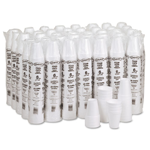 Foam Drink Cups, 6oz, White, 25/Bag, 40 Bags/Carton. Picture 3
