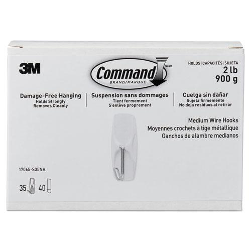 General Purpose Hooks, Metal, White, 2 lb Cap, 35 Hooks and 40 Strips/Pack. Picture 1