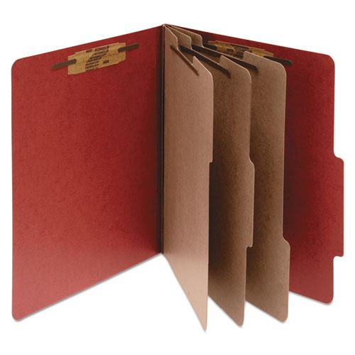 Pressboard Classification Folders, 3 Dividers, Legal Size, Earth Red, 10/Box. Picture 1