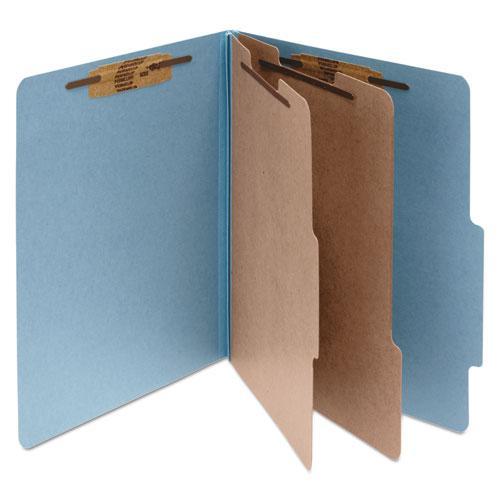 Pressboard Classification Folders, 2 Dividers, Letter Size, Sky Blue, 10/Box. Picture 1