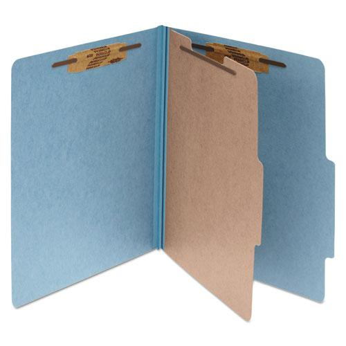 Pressboard Classification Folders, 1 Divider, Legal Size, Sky Blue, 10/Box. Picture 1