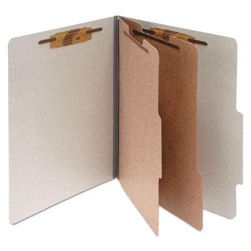 Pressboard Classification Folders, 2 Dividers, Legal Size, Mist Gray, 10/Box. Picture 1