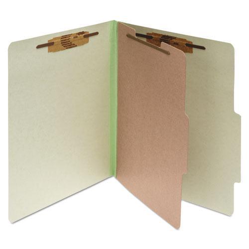 Pressboard Classification Folders, 1 Divider, Letter Size, Leaf Green, 10/Box. Picture 1