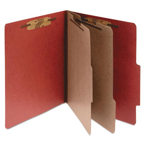 Pressboard Classification Folders, 2 Dividers, Letter Size, Earth Red, 10/Box. Picture 1