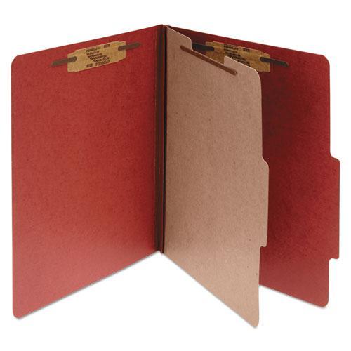 Pressboard Classification Folders, 1 Divider, Letter Size, Earth Red, 10/Box. Picture 1