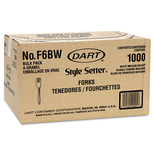 Style Setter Mediumweight Plastic Forks, White, 1000/Carton. Picture 2