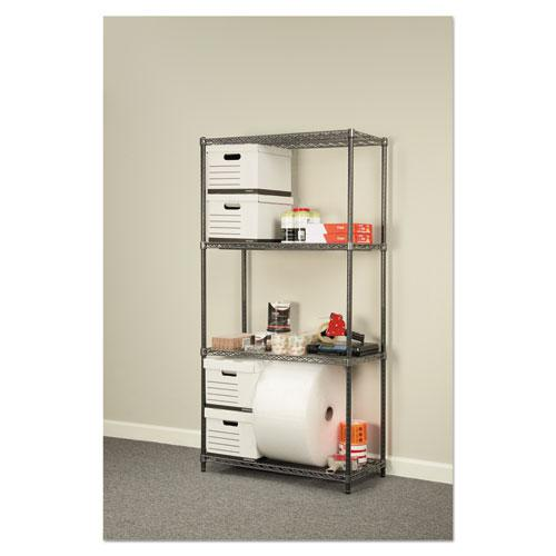 Wire Shelving Starter Kit, Four-Shelf, 36w x 18d x 72h, Black Anthracite. Picture 4