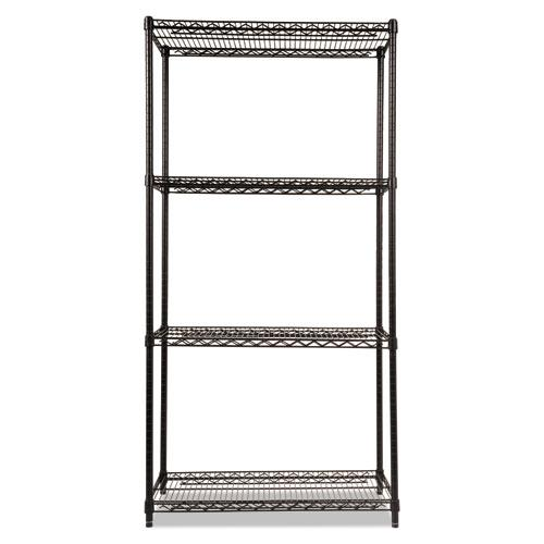 NSF Certified Industrial 4-Shelf Wire Shelving Kit, 36w x 18d x 72h, Black. Picture 2