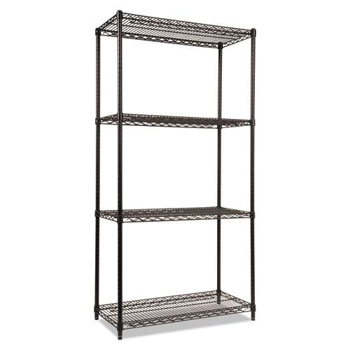 NSF Certified Industrial 4-Shelf Wire Shelving Kit, 36w x 18d x 72h, Black. Picture 3