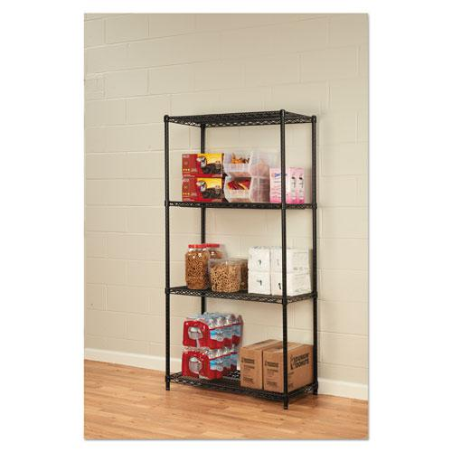 NSF Certified Industrial 4-Shelf Wire Shelving Kit, 36w x 18d x 72h, Black. Picture 10