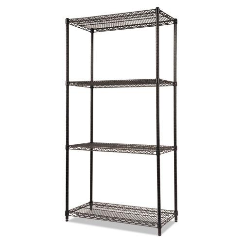 NSF Certified Industrial 4-Shelf Wire Shelving Kit, 36w x 18d x 72h, Black. Picture 1