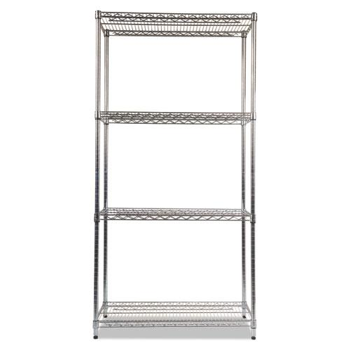 NSF Certified Industrial 4-Shelf Wire Shelving Kit, 36w x 18d x 72h, Silver. Picture 2