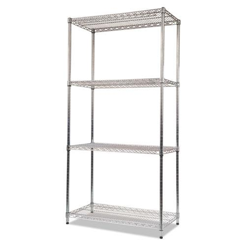 NSF Certified Industrial 4-Shelf Wire Shelving Kit, 36w x 18d x 72h, Silver. Picture 3