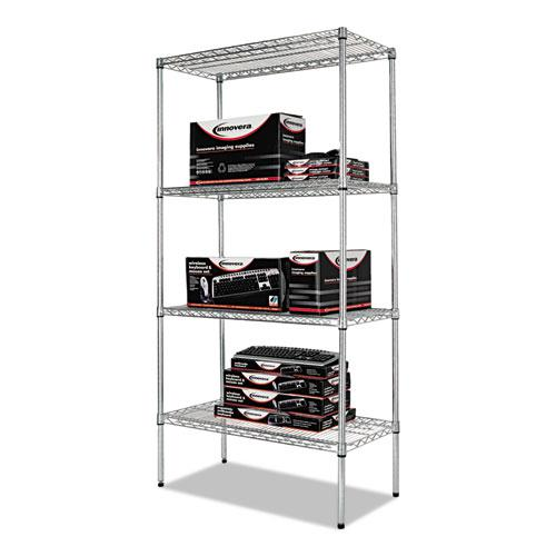 NSF Certified Industrial 4-Shelf Wire Shelving Kit, 36w x 18d x 72h, Silver. Picture 6