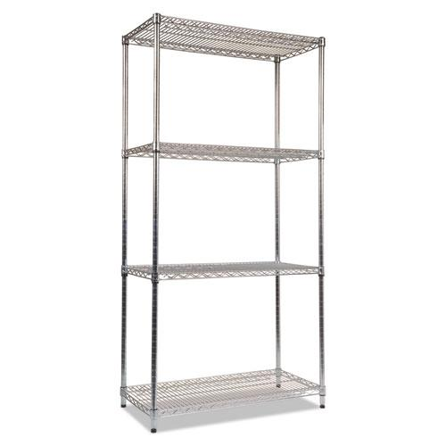 NSF Certified Industrial 4-Shelf Wire Shelving Kit, 36w x 18d x 72h, Silver. Picture 1