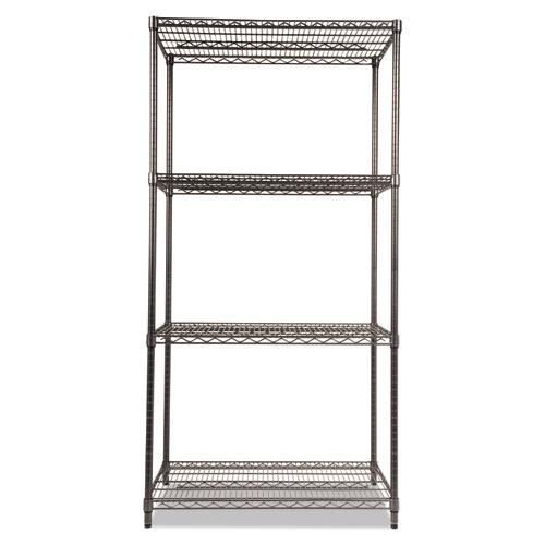Wire Shelving Starter Kit, Four-Shelf, 36w x 24d x 72h, Black Anthracite. Picture 2