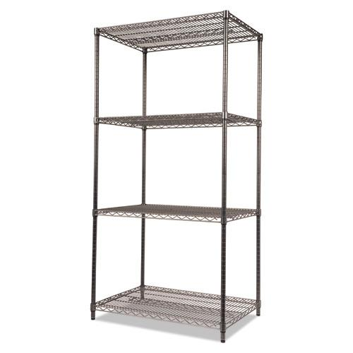 Wire Shelving Starter Kit, Four-Shelf, 36w x 24d x 72h, Black Anthracite. Picture 3