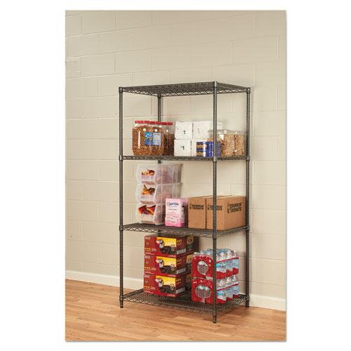 Wire Shelving Starter Kit, Four-Shelf, 36w x 24d x 72h, Black Anthracite. Picture 4
