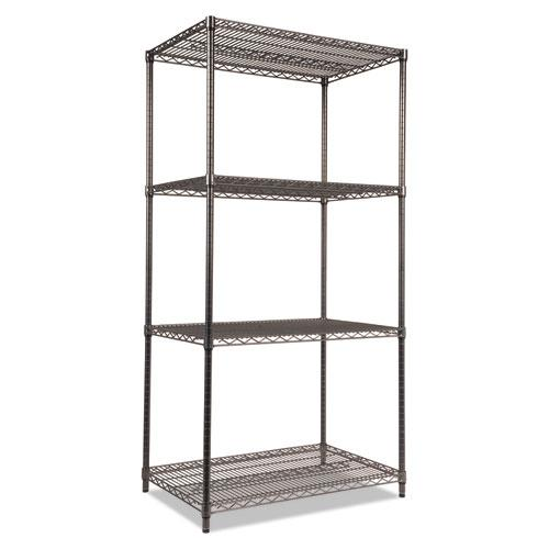 Wire Shelving Starter Kit, Four-Shelf, 36w x 24d x 72h, Black Anthracite. Picture 1