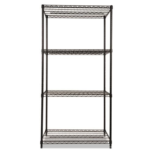 NSF Certified Industrial 4-Shelf Wire Shelving Kit, 36w x 24d x 72h, Black. Picture 2