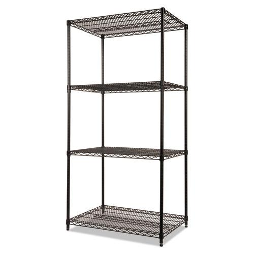 NSF Certified Industrial 4-Shelf Wire Shelving Kit, 36w x 24d x 72h, Black. Picture 3