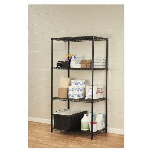 NSF Certified Industrial 4-Shelf Wire Shelving Kit, 36w x 24d x 72h, Black. Picture 4