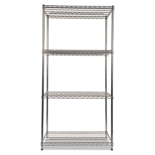 NSF Certified Industrial 4-Shelf Wire Shelving Kit, 36w x 24d x 72h, Silver. Picture 2