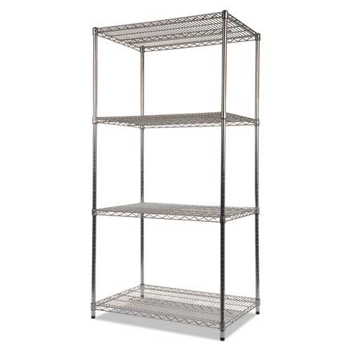 NSF Certified Industrial 4-Shelf Wire Shelving Kit, 36w x 24d x 72h, Silver. Picture 3