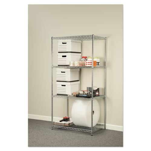 NSF Certified Industrial 4-Shelf Wire Shelving Kit, 36w x 24d x 72h, Silver. Picture 5