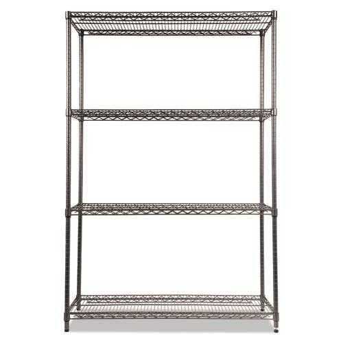 Wire Shelving Starter Kit, Four-Shelf, 48w x 18d x 72h, Black Anthracite. Picture 2