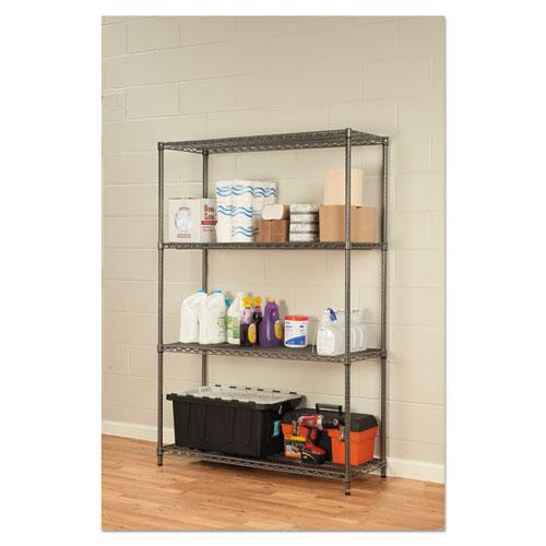 Wire Shelving Starter Kit, Four-Shelf, 48w x 18d x 72h, Black Anthracite. Picture 4