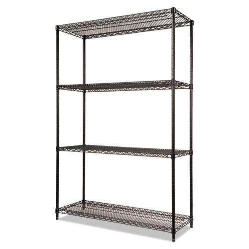 NSF Certified Industrial 4-Shelf Wire Shelving Kit, 48w x 18d x 72h, Black. Picture 2