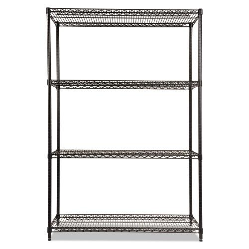NSF Certified Industrial 4-Shelf Wire Shelving Kit, 48w x 18d x 72h, Black. Picture 3
