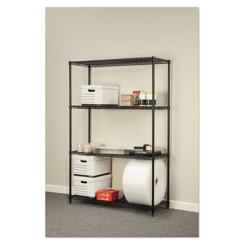 NSF Certified Industrial 4-Shelf Wire Shelving Kit, 48w x 18d x 72h, Black. Picture 6