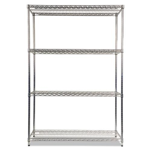 NSF Certified Industrial 4-Shelf Wire Shelving Kit, 48w x 18d x 72h, Silver. Picture 2
