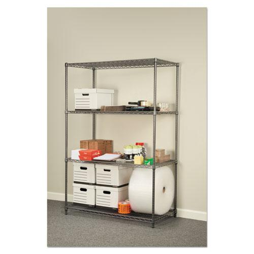 Wire Shelving Starter Kit, Four-Shelf, 48w x 24d x 72h, Black Anthracite. Picture 4