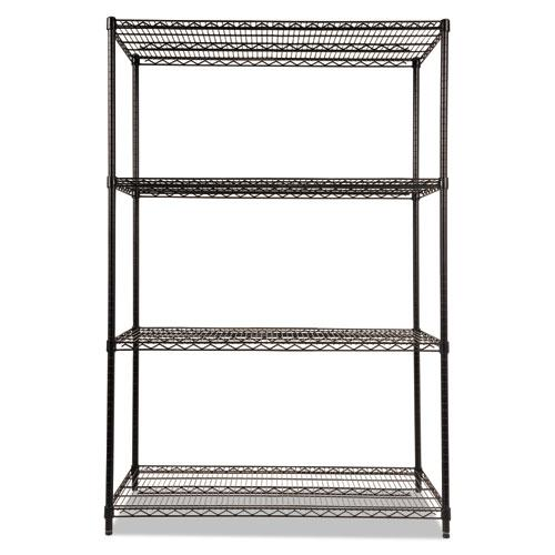 NSF Certified Industrial 4-Shelf Wire Shelving Kit, 48w x 24d x 72h, Black. Picture 2