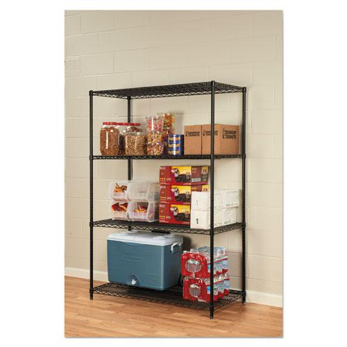 NSF Certified Industrial 4-Shelf Wire Shelving Kit, 48w x 24d x 72h, Black. Picture 3