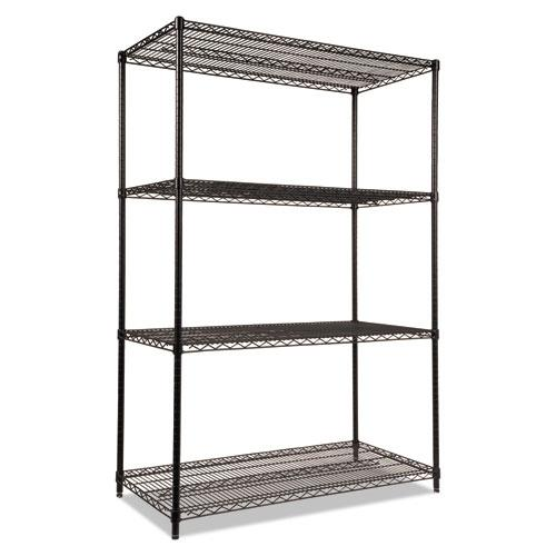 NSF Certified Industrial 4-Shelf Wire Shelving Kit, 48w x 24d x 72h, Black. Picture 1