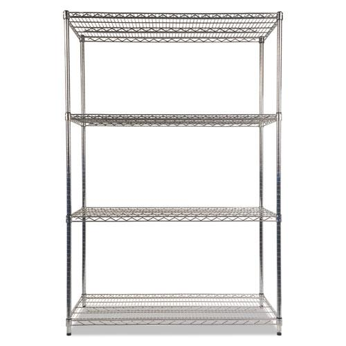NSF Certified Industrial 4-Shelf Wire Shelving Kit, 48w x 24d x 72h, Silver. Picture 2