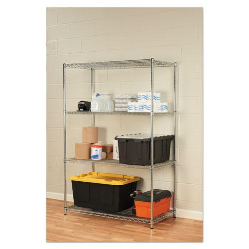 NSF Certified Industrial 4-Shelf Wire Shelving Kit, 48w x 24d x 72h, Silver. Picture 4