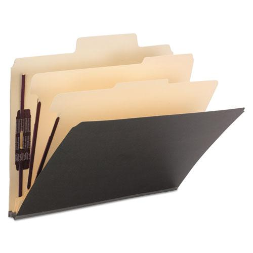 Colored Top Tab Classification Folders, 6 Sections, Letter, Dark Gray, 10/BX. Picture 1