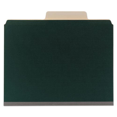 Colored Top Tab Classification Folders, 6 Sections, Letter, Dark Green, 10/BX. Picture 2